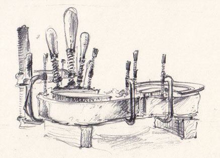 Drawing of violin on workbench